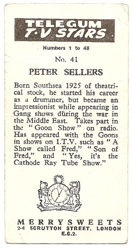 Peter Sellers - Bubble Gum Card (Back)