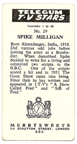 Spike Milligan - Bubble Gum Card (Back)